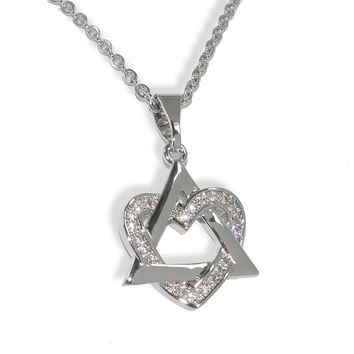 Silver-Tone Crystal Heart Star Necklace