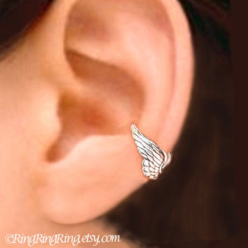 925 Tiny Angel wing earcuff  Sterling Silver ear by RingRingRing