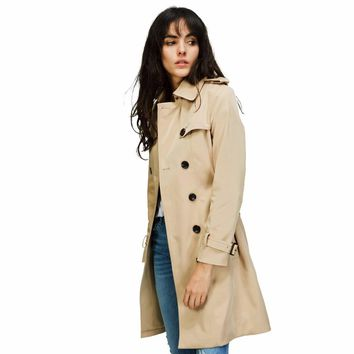 2018 New Fashion Spring Autumn Women Classic Double Breasted Trench Coat Waterproof Raincoat Business Outerwear Casaco Fminino