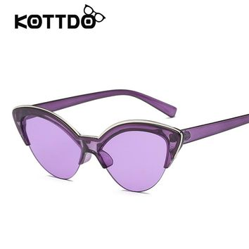 2018 Newest Sunglasses Women Cat Eye Women Sunglasses Vintage Sexy Purple Sun Glasses Shades Brand Designer Light Lenses UV400