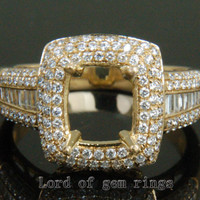 9mm Cushion Cut Solid 14K Yellow Gold 1.02CT Diamonds Engagement Semi Mount Ring