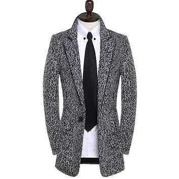 Grey slim men's clothing man coat medium-long casacos masculinos fashion woolen outerwear pea coats winter men wool coat jacket