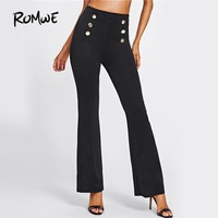 Double Breasted High Waist Pants Women Black Elegant Slim Vintage Work Pants Fashion New Straight Pants