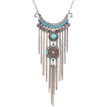 Women's Tribal/Bohemian Faux Turquoise Look Retro Fashion Long Tassel Pendant Statement Necklace Silver Tone