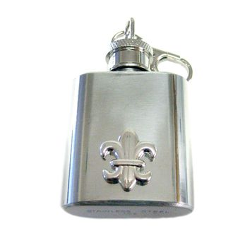 1 Oz. Stainless Steel Key Chain Flask with Fleur De Lys Boy Scout Pendant