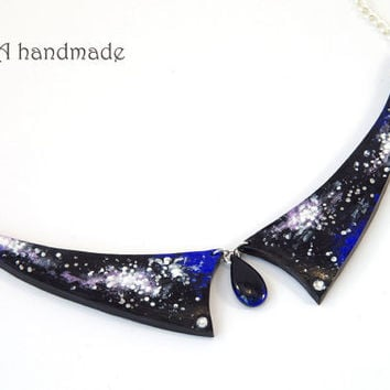 Hand painted galaxy collar necklace