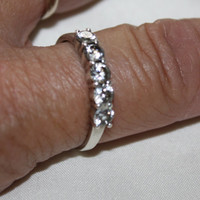 Vintage CZ Art Deco Ring Sterling Engagement Promise Ring Jewelry sz 10