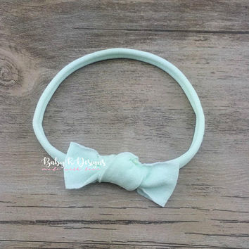 Newborn Nylon Headband | Knotted Bow | Baby Headband | MINT Bow | Infant Bow | Newborn Bow | Coming Home Outfit | Baby Bow | Light Aqua Bow