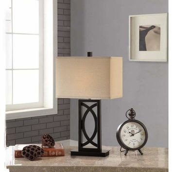 Contemporary Polyresin Rectangular Table Lamp Black And White Set of 2 By Poundex