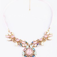 Pink Color Drop Shape Pendant Necklace with Lace