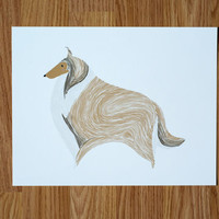 Collie Illustration - FREE US SHIPPING