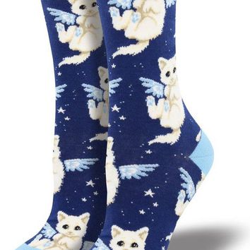 Purrfect Angel Cat Women's Crew Socks