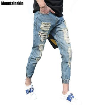 Mountainskin 2017 Summer Ripped Men Jeans Fashion Hole Denim Joggers Men Pants Slim Destroyed Style Washed Vintage Jeans ,EDA352