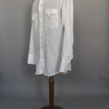Vintage 1970s Men's Panhandle Slim Tapered Western Wear Cowboy Shirt White Button Up Long Sleeve Size Small Medium Southwestern Top