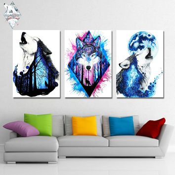 Missing You by Scandy Girl Wolfs Wolves Wolf 1 Panel canvas art  Abstract Wall Picture Print
