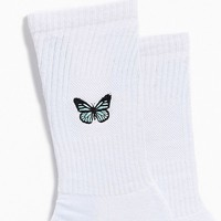 Embroidered Butterfly Sock | Urban Outfitters