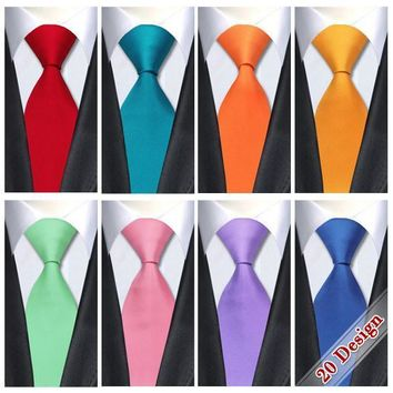 Men's Ties 20 Solid 8.5cm silk