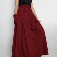 Women Maxi Long Skirt , Casual Gypsy, Bohemian , Cotton Blend In Red Maroon (Skirt *M10).