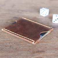 Leather Card Holder, Case, Wallet - Ultra Slim Minimalist Vertical Card Sleeve - Men's Leather Wallets --- JooJoobs Original