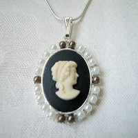 Black and Ivory Cameo Necklace White Pearl Bead Silver Snake Chain 16""