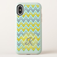 Trendy Gold and silver chevrons pattern monogram OtterBox Symmetry iPhone X Case