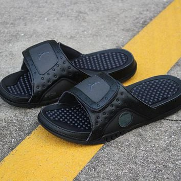 cdadf8ce81cab Air Jordan Hydro 13 Retro Triple Black Sandals Slides Slippers -