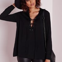 Missguided - Lace Up Shirt Black