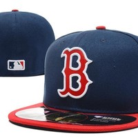 hcxx Boston Red Sox New Era MLB Authentic Collection 59FIFTY Hat Blue-Red