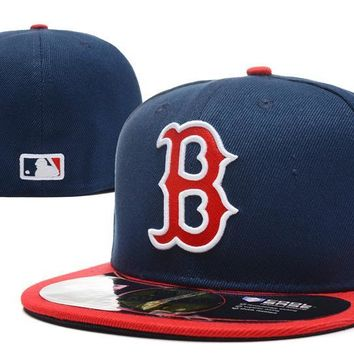 auguau Boston Red Sox New Era MLB Authentic Collection 59FIFTY Hat Blue-Red