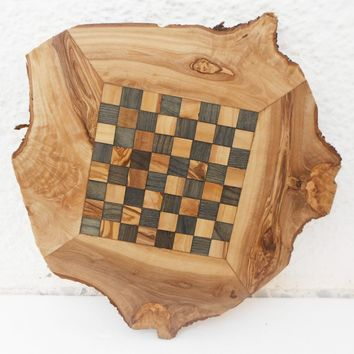 Engraved Unique Olive Wood Natural Edges Chess Board, Dad giftIdea