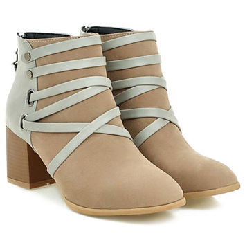 Ankle Boots With Suede and Cross-Strap Design