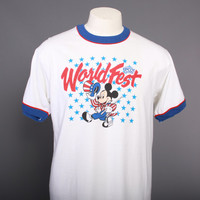 80s MICKEY Mouse Epcot T-SHIRT / 1980s World Fest Ringer Tee L