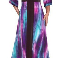 FUNFASH SLIMMING PURPLE KIMONO LONG MAXI COCKTAIL DRESS Plus Size