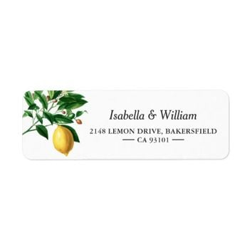 Modern Lemon Boho Summer Wedding Address Label