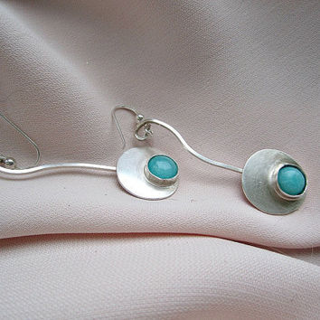 Sterling Silver Earrings with Blue Amazonites