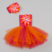 Bride and Babies Orange Flower Tutu Dress & Headband Set - Infant, Toddler & Girls | Something special every day
