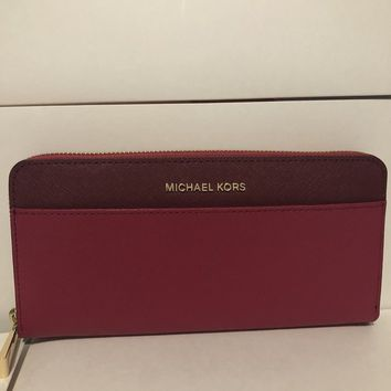 Michael Kors Money Pieces Colorblock Zip Around Wallet Purse Mulberry Red New