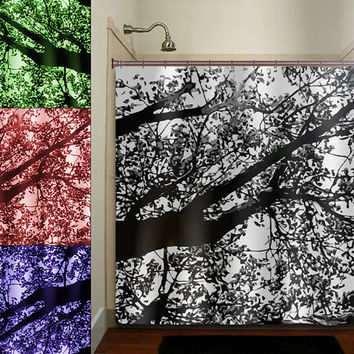 color gray leaves branch blossom leaf tree shower curtain bathroom decor fabric kids bath white black custom duvet cover rug mat window