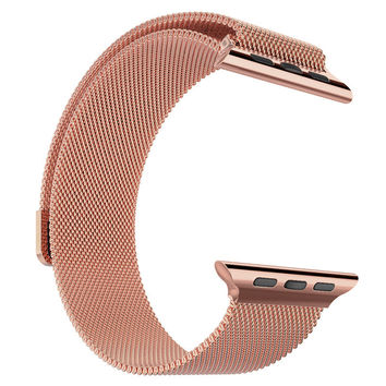 Stainless Steel 14k Rose Gold Finish 42mm Milanese Loop Apple Watch Mesh Band