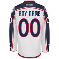 Men's Columbus Blue Jackets Reebok White Premier Away Custom Jersey