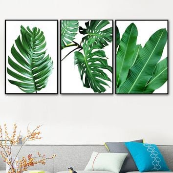 Tropical Plants Monstera Banana Leaf Nordic Posters And Prints Wall Art Canvas Painting Wall Pictures For Living Room Home Decor