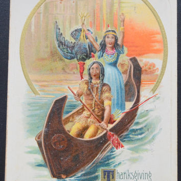 Thanksgiving Postcard, John Winsch, Indian Maiden Canoe, Winsch Schmucker Thanksgiving, Antique Postcard, Thanksgiving Ephemera