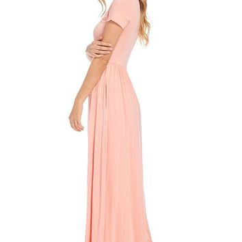 Maxi Dress with Pockets- Blush