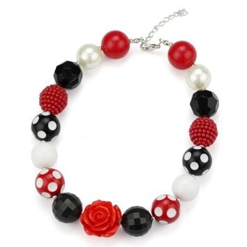 Girls Red-Black- White - Red Rose Chunky Necklace