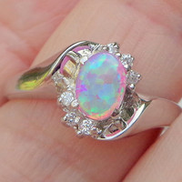Pink Fire Opal Ring sz 10.25