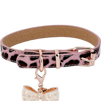 LEOPARD WITH BOW DOG COLLAR PINK