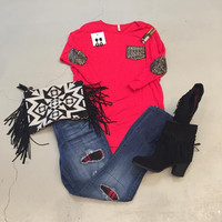 Red 3/4 length Top with Sequin Pocket & elbow patches