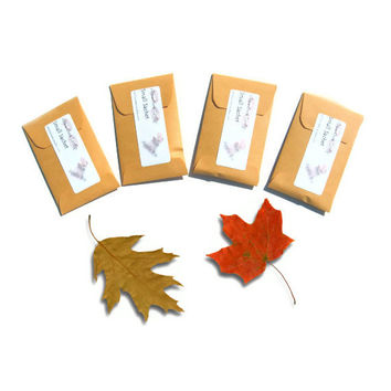 4 Fallen Leaf Scented Candle Sachets - Autumn Woodland Wedding - DIY Party Favors - Can Be Personalized - Leaves