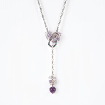 Dainty Ametrine Necklace with Swarovski Crystal, Stainless Steel Chain, Light Purple Ametrine Chips Stone Jewelry