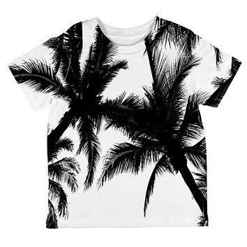 Black And White Palm Tree Silhouette All Over Toddler T Shirt